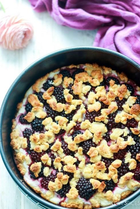 Blackberry Ricotta Sbriciolata-in the pan-baked