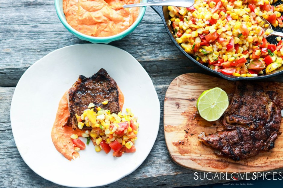 Grilled Ribeye with roasted red pepper and corn succotash-feature