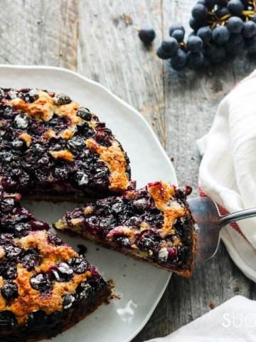 Torta Bertolina, Italian Grape Cake-feature-cake and one slice