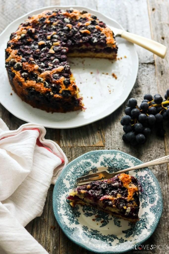 Torta Bertolina, Italian Grape Cake-view from the top cake and slice
