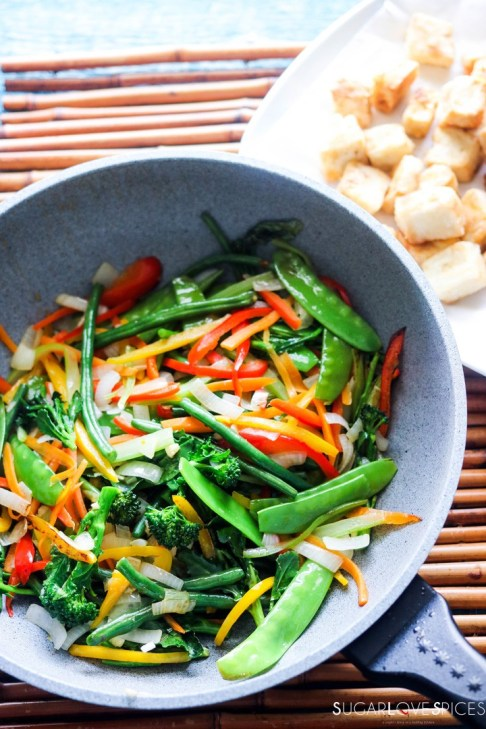 Laotian Sweet and Sour Tofu-stir frying veggies
