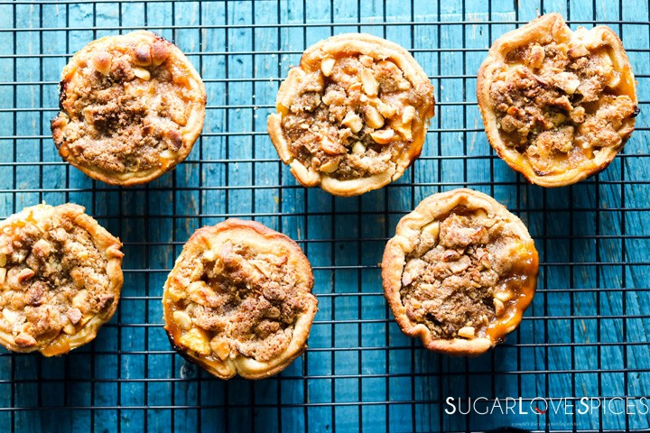 Petite Peach Ginger Streusel Pies-on the rack