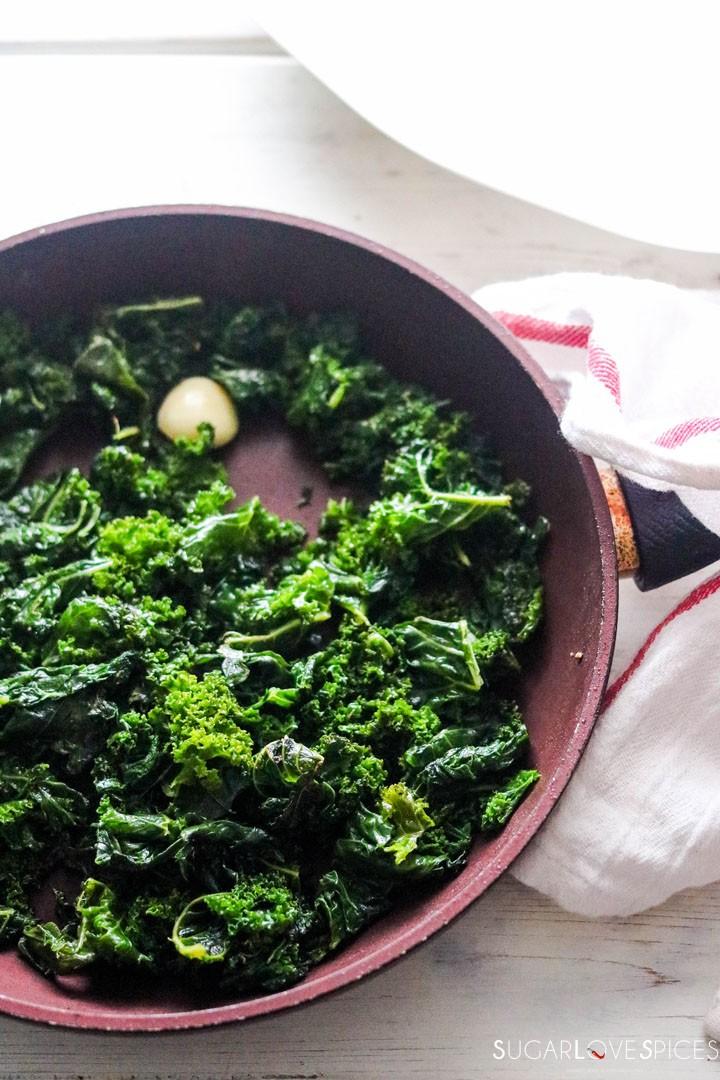 Sauteed Kale-pan-sauteeing