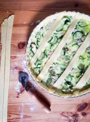Savory Crostata with zucchini and prosciutto-prep-putting strips on crostata