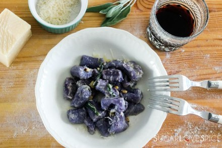 Homemade purple potato gnocchi-plate of cooked gnocchi