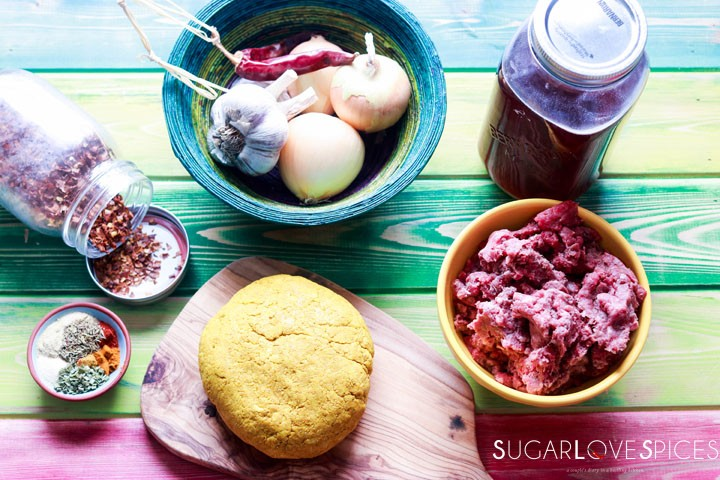 Jamaican Beef Patties-ingredients and dough on board