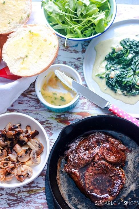 Steak sandwich-cooked steak and other ingredients around