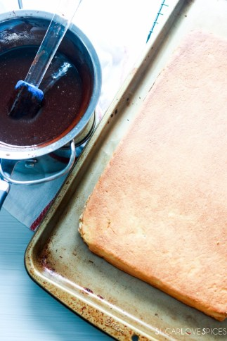 Hungarian Gerbeaud cake-cake on a baking sheet-melted chocolate in a bowl