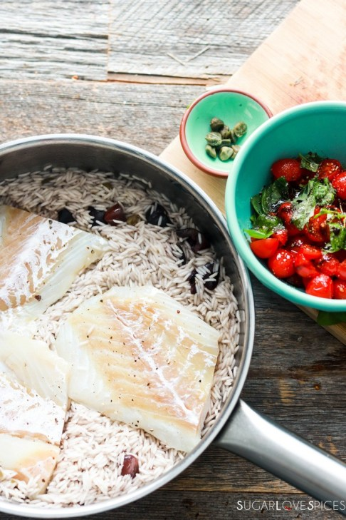 One pan rice and fish-prep-adding fish to the rice