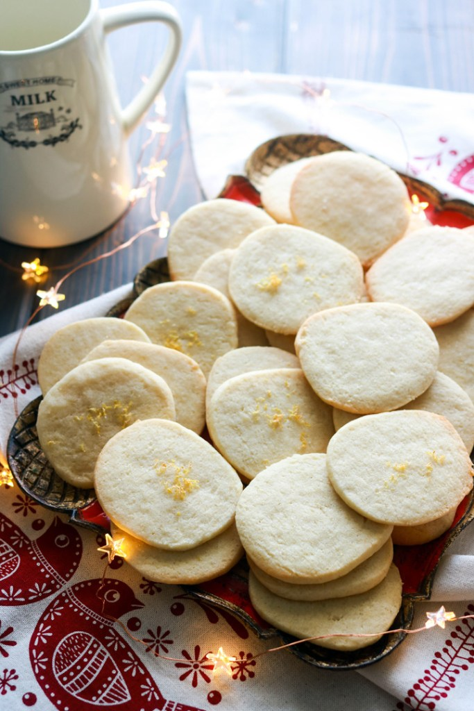 Slice and bake lemon crips-feature-cookies on a tray-milk jug in the back