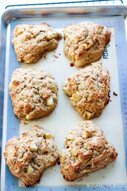 Spiced Apple Eggnog Scones-baked scones on baking sheet