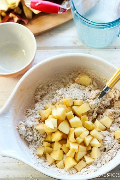 Spiced Apple Eggnog Scones-prep-adding apples