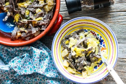 Buckwheat Pasta with Cabbage and Potatoes (Pizzoccheri)-plated-with fork
