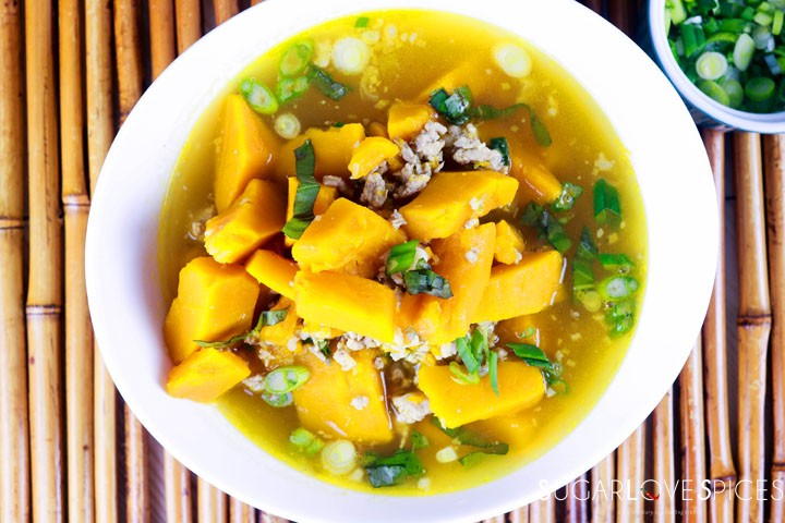Vietnamese Kabocha Squash Soup-bowl-view from the top