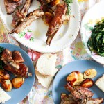 Excellent Roasted Lamb and Potatoes, Roman-style-feature-table set-two plates-wine-cicoria