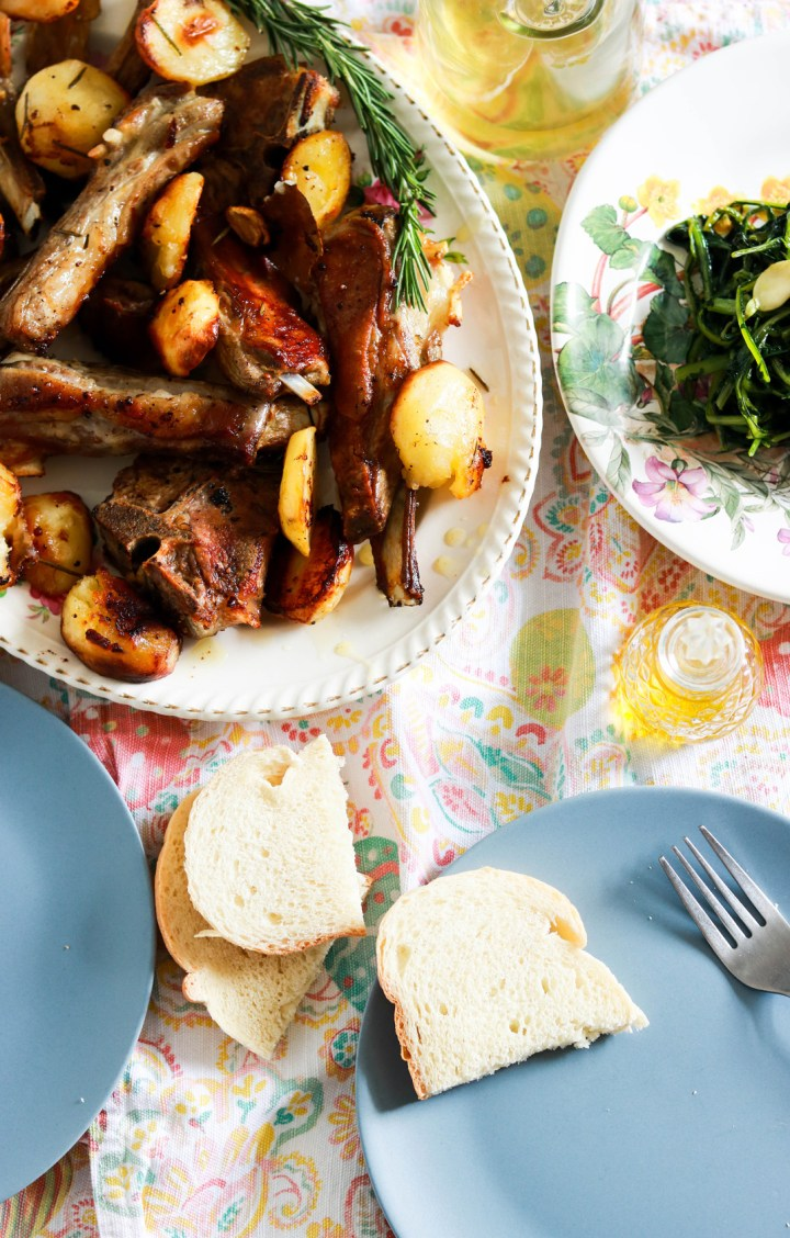 Excellent Roasted Lamb and Potatoes, Roman-style-lamb in platter-plates with bread