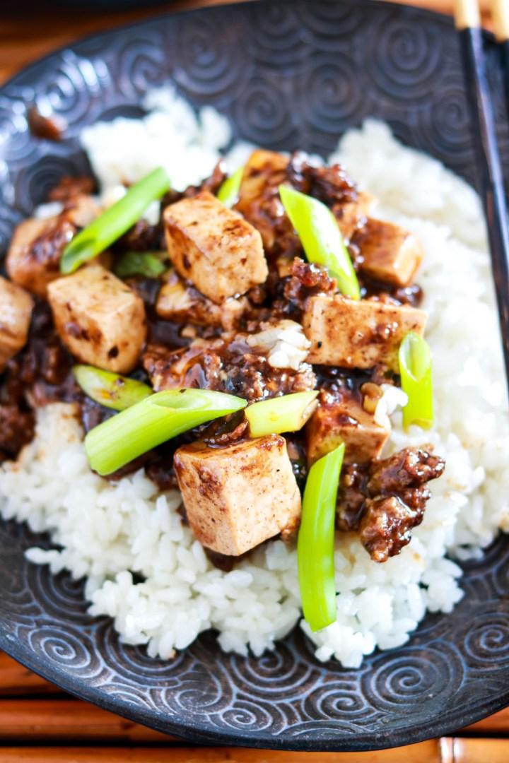 Authentic Sichuan Mapo Tofu Recipe-one plate closeup-top-view