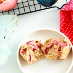Dairy-free-Strawberry-Rhubarb-Oat-Muffins-one-broken-on-a-plate