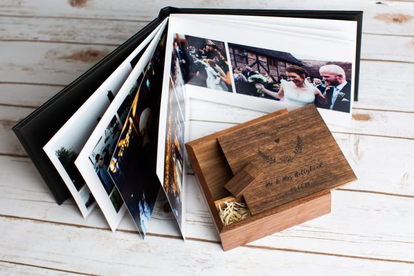 wedding album, usb and print box personalised wooden