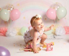 cake smash photography dudley west midlands first birthday shoot pastel rainbow