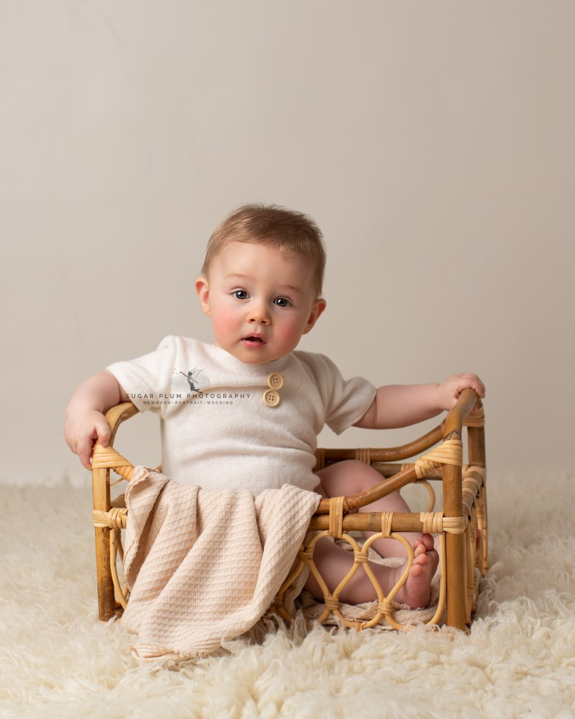sitter session portraits baby photography bamboo crib