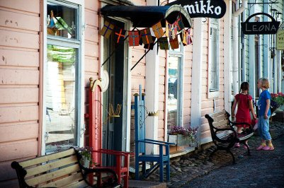 Strassenszene Porvoo Altstadt