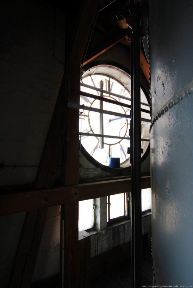 Straßenbahndepot in Nürnberg Muggenhof #19 - Im Turm mit Uhr und Nutzwassertank