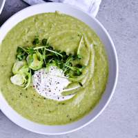Winter green soup (Broccoli cauliflower brussels sprouts soup)