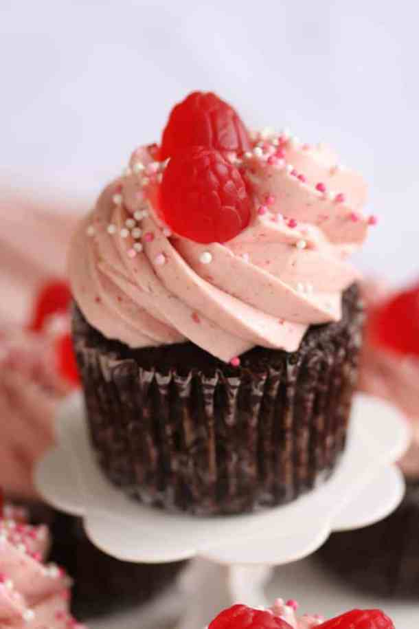 Chocolate Raspberry Cupcakes by Sugar Salt Magic. A chocolate lovers chocolate cupcake, topped with a luscious creamy, dreamy raspberry frosting.