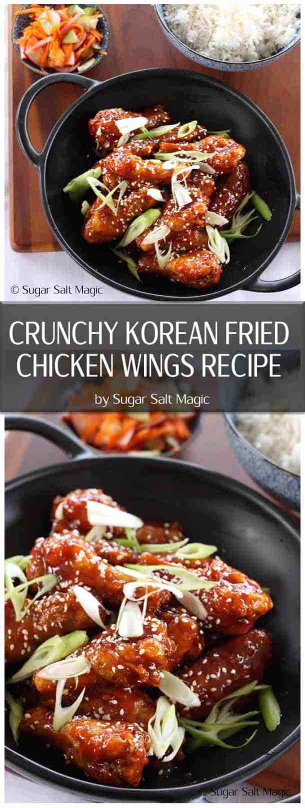 This Crunchy Korean Fried Chicken Wings recipe is a total winner. Affectionately known as KFC, they are fried until crispy, then slathered in a thick, sweet and spicy sauce. #koreanfriedchicken #koreanchicken