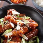 Korean Fried Chicken Wings are chicken wings fried until crispy, then slathered in a thick,sweet andspicy sauce.