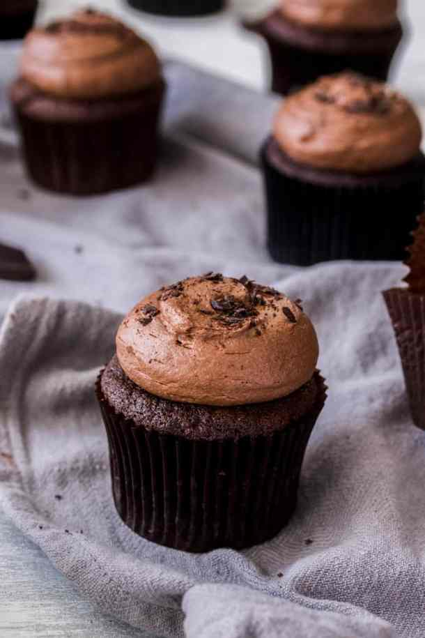 These Double Chocolate Cupcakes are totally dreamy. The perfect easy moist chocolate cupcake recipe topped with a dark chocolate ganache frosting.