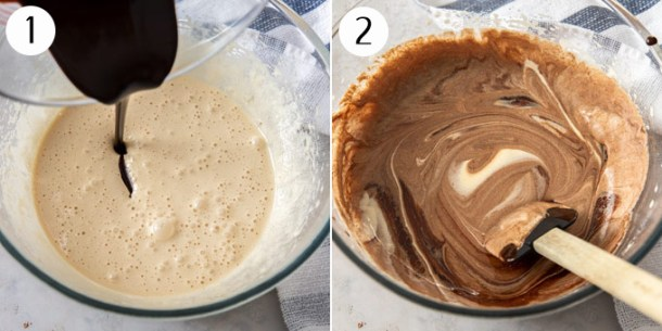 Eggs and sugar beaten together in a bowl until frothy