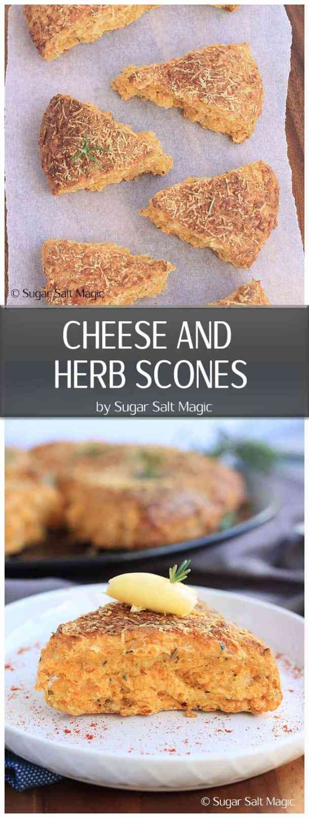 These Cheese and Herb Scones, filled with cheddar and rosemary are a great twist on a classic simple scone recipe. A great breakfast or brunch.  #scones #herbs