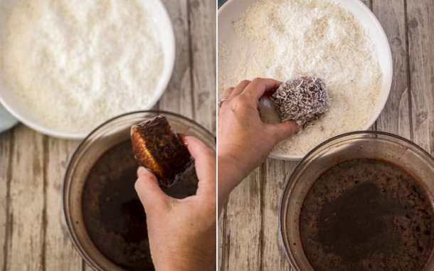 Coating Lamington Cupcakes in chocolate glaze and coconut