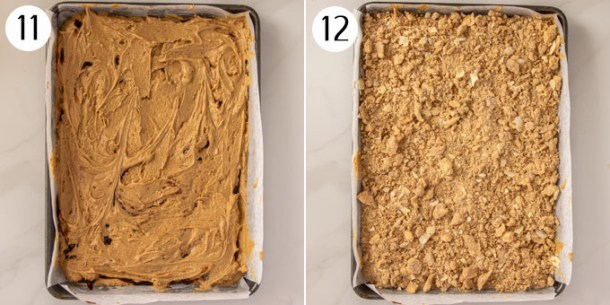 Collage showing final layer of cake batter then crumb topping in a baking tin.