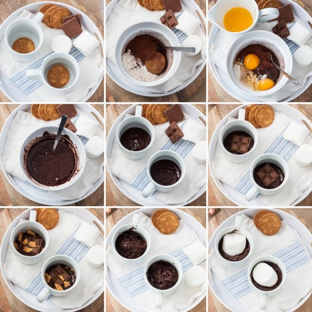 Smores Mug Cake recipe - Gooey marshmallow, melty chocolate, chocolate cake and cookie. All in 5 minutes
