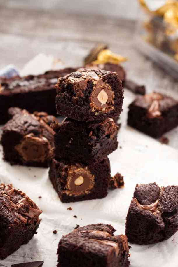 Ferrero Rocher Brownies - Decadent Chocolate Nutella Brownies with a Ferrero Rocher surprise centre #desserts #brownies