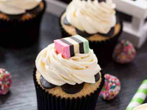 Liquorice Allsorts Cupcakes for Halloween. Perfect little cupcakes with a subtle liquorice flavour and whipped buttercream