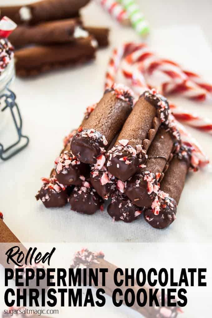 A delicious peppermint cream encased in a chocolate cookie tube make these Rolled Peppermint Chocolate Christmas Cookies the perfect new cookie to add to your Christmas baking list.
