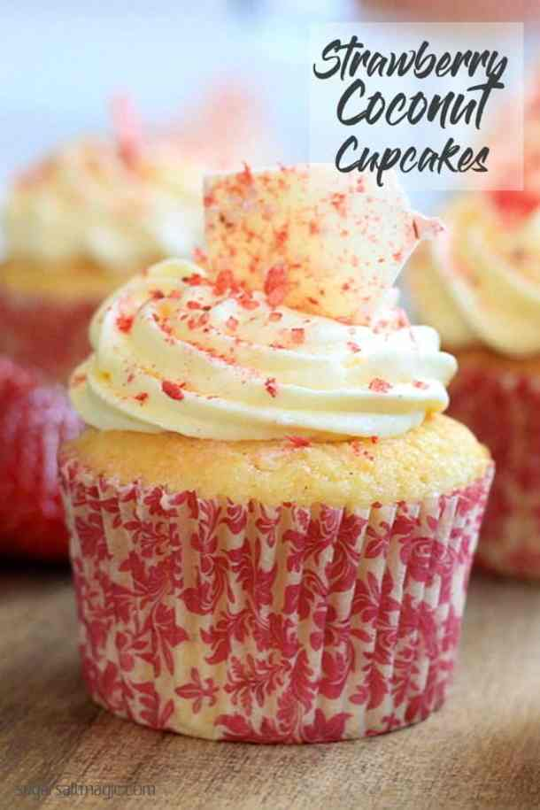 Coconut Strawberry Cupcakes with Cream Cheese Frosting by Sugar Salt Magic.
