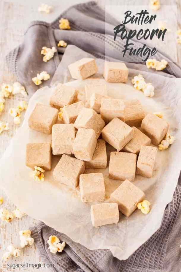 Butter Popcorn Easy Fudge has all the flavour of butter popcorn and fudge in one and not a piece of popcorn in sight. This is an easy fudge recipe with a fun flavour. #easyfudge #butterpopcorn #popcornfudge