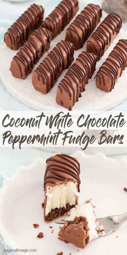 Coconut White Chocolate Peppermint Fudge Bars. A chocolate cookie base, white peppermint fudge and peppermint coconut ice – 3 easy layers wrapped in chocolate.