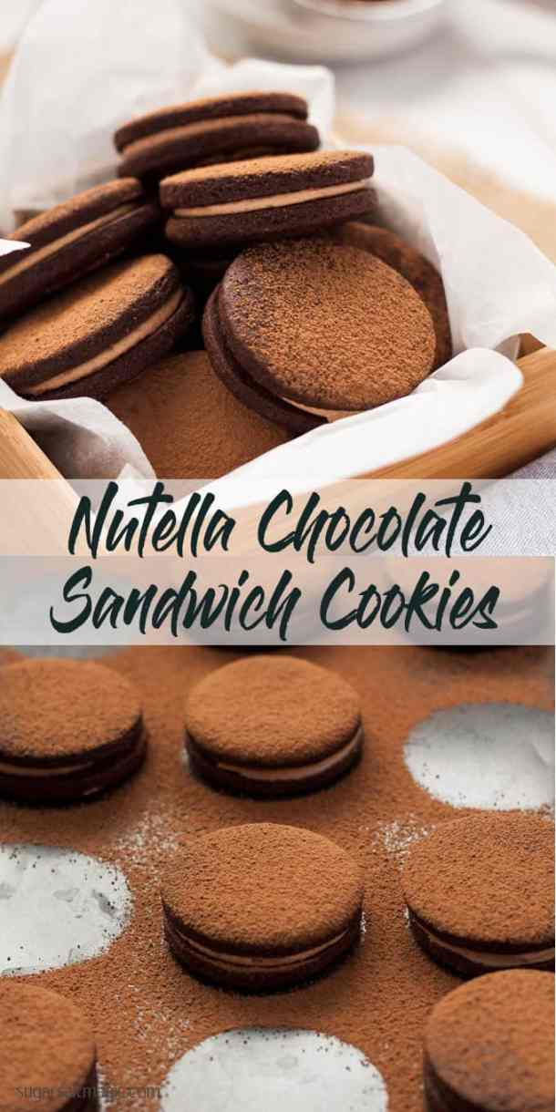 Nutella Chocolate Sandwich Cookies are not only delicious chocolate cookies filled with nutella, they are also super simple food processor cookies.  #nutella #chocolatecookies #nutellacookies