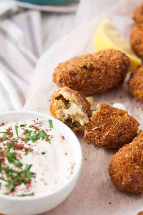 Crispy and golden on the outside, with a soft, tasty centre, these Pork and Fennel Potato Croquettes make a wonderful appetiser, finger food or main course.