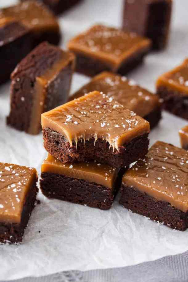 Delicious Chocolate Fudge Brownies with a topping of homemade Chewy Salted Butterscotch. No thermometer required for this butterscotch sauce.