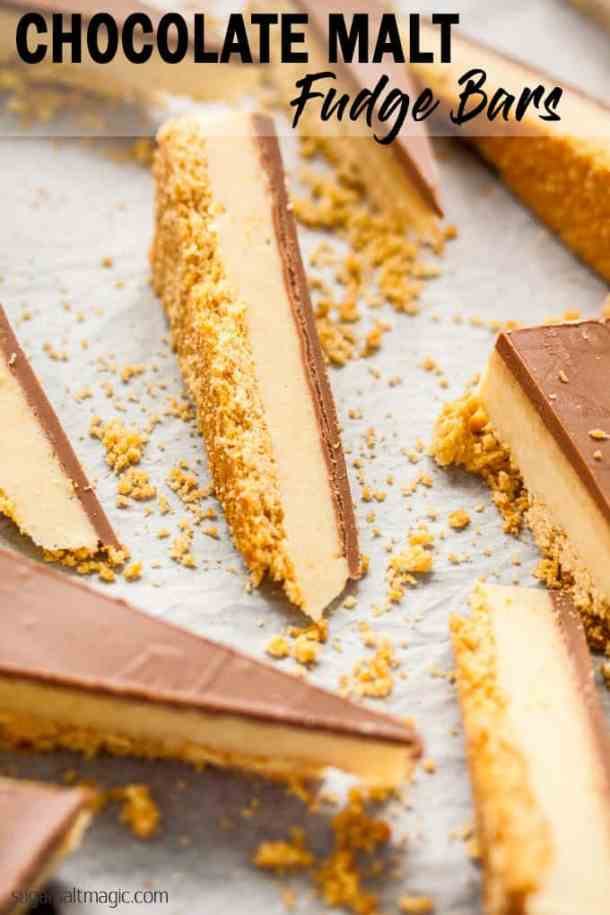 Chocolate Malt Fudge Bars. A creamy malted milk fudge filling on a biscuit base and covered in chocolate. This is like Matesers in fudge form. #sugarsaltmagic #easyfudge #fudge #maltesers #fudgebars #maltbars #maltedmilk #fudgerecipes