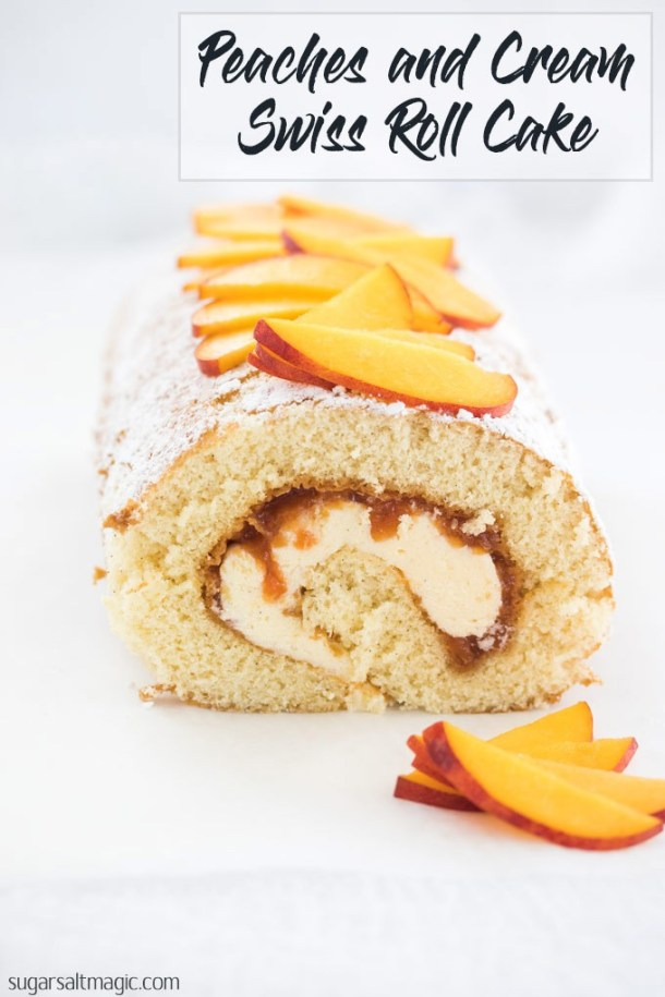 This beautiful Peaches and Cream Swiss Roll Cake Recipe is easy peach jam and the smoothest creamy frosting, all rolled up in a delicate swiss roll. If you're looking for peach desserts, this is the one you need. #peachdesserts #summerdesserts #summerrecipes #swissroll #rollcake #peachrecipes #spongeroll