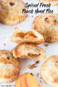 These Spiced Peach Hand Pies are a combination of fresh peaches, a kick of cinnamon and ginger, all wrapped up in the perfect buttery pie crust. These mini pies perfect portable dessert.