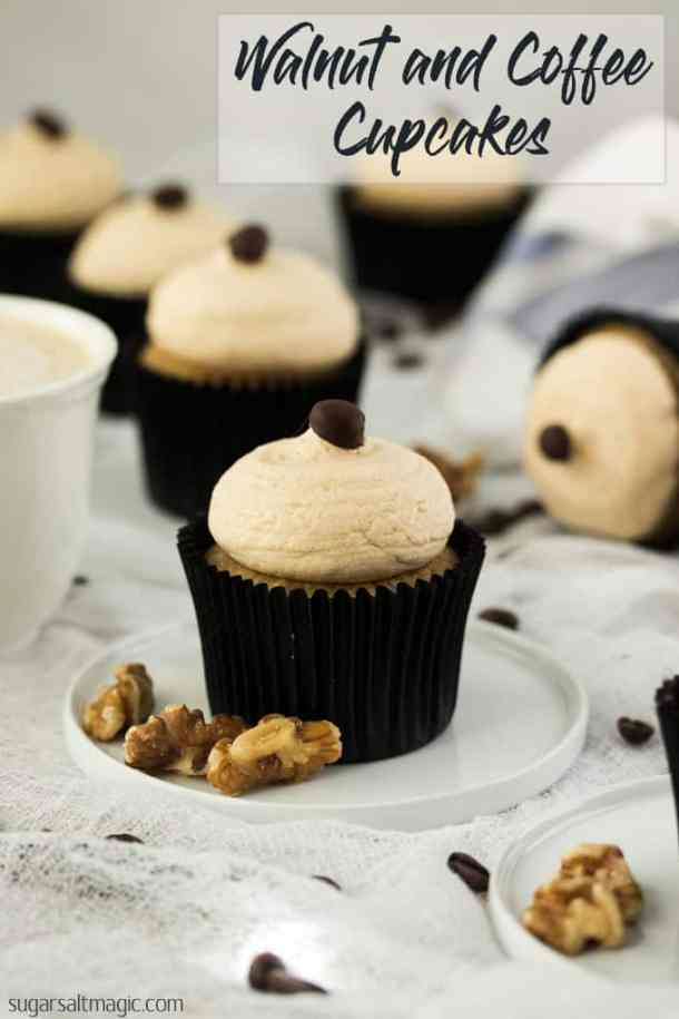 These Walnut and Coffee Cupcakes with Coffee Buttercream are amazing cupcakes filled with walnuts and coffee then topped with the most delectable coffee buttercream. #coffeecupcakes #coffeebuttercream #coffeeandwalnut